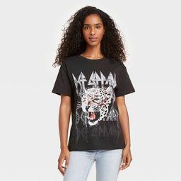 Women's Def Leppard Animal Print Short Sleeve Graphic T-Shirt - Black | Target