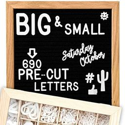 Felt Letter Board 10x10 (Black) | +685 PRE-Cut Letters +Stand +UPGRADED WOODEN Sorting Tray! Lett... | Amazon (US)