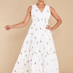 Eternal Feeling White Floral Embroidered Eyelet Dress | Red Dress