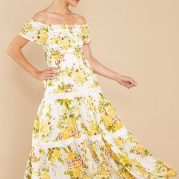 Sunny Dreams White And Yellow Floral Print Maxi Dress | Red Dress