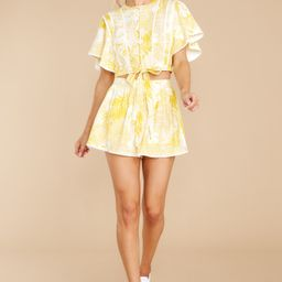 Sip By The Sea Yellow Tropical Print Two Piece Set | Red Dress