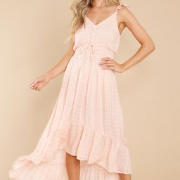 Burst Your Bubbly Peach Print High-Low Dress | Red Dress