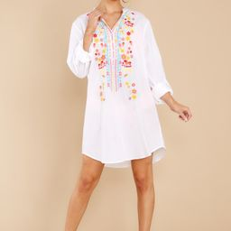 Resort Ready White Embroidered Cover Up Dress | Red Dress
