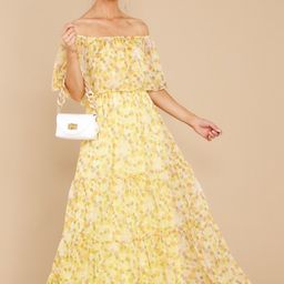 Washed Memories Sunshine Yellow Floral Print Maxi Dress | Red Dress