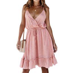 Women Polka Dot Deep V Neck Slings Drawstring Ruffled Mini Dress,walmart Fashion, Spring Dress,   Walmart (US)