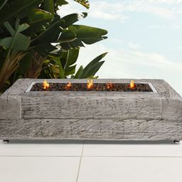 Light Grey Log Rectangle Outdoor Fire Table | Arhaus