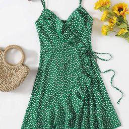 SHEIN Ditsy Floral Print Ruffle Trim Tie Side Wrap Cami Dress | SHEIN