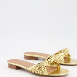 ASOS DESIGN Freddie knotted mule sandals in gold   ASOS (Global)