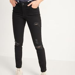 Mid-Rise Pop Icon Skinny Black Ripped Jeans for Women   Old Navy (US)