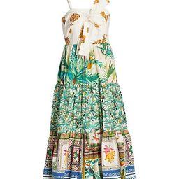 Mixed Print Bow Top Midi Dress | Saks Fifth Avenue