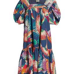 Toucan Puff-Sleeve Midi Dress | Saks Fifth Avenue
