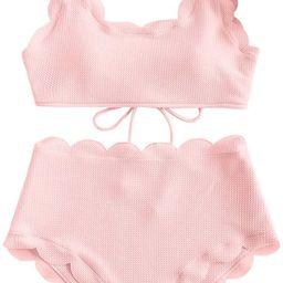 ZAFUL Women's High Waisted Wide Strap Adjustable Back Lace-up Bikini Set Swimsuit   Amazon (US)