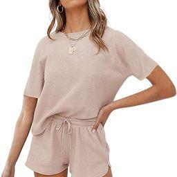 MEROKEETY Women's Short Sleeve Waffle Pajama Sets Lounge Top and Shorts 2 Piece Tracksuit Outfits   Amazon (US)