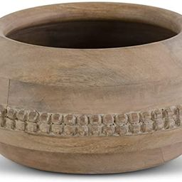 K&K Interiors 17469B-2 12 Inch Wood Carved Bowl with Beaded Trim, Brown | Amazon (US)