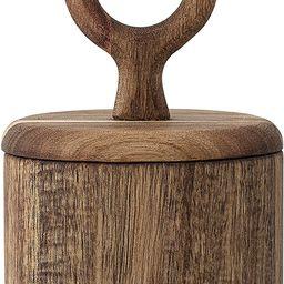 "Bloomingville Acacia Wood Jar with Lid, 3-1/2""Rnd x 6""H, Brown   Amazon (US)"