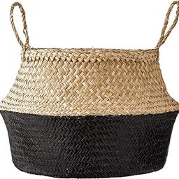 Bloomingville Round Natural Seagrass Basket with Handles, 19.5 Inch, Natural & Black   Amazon (US)
