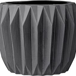 Bloomingville Round Fluted Ceramic Flower Pot, 8 Inch x 6 Inch, Dark Grey   Amazon (US)