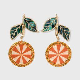 SUGARFIX by BaubleBar Crystal Citrus Drop Earrings - Orange | Target