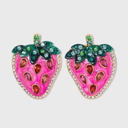 SUGARFIX by BaubleBar Crystal Strawberry Drop Earrings - Pink | Target