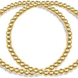 Hapuxt 14K Gold Bracelets for Women | Stretch Stacking Gold Layered Beaded Ball Bracelets Sets | Amazon (US)