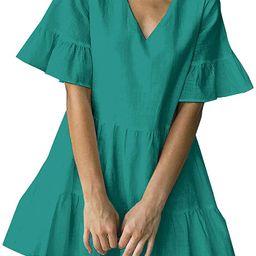 FANCYINN Women's Cute Shift Dress with Pockets Bell Sleeve Ruffle Hem V Neck Loose Swing Tunic ...   Amazon (US)