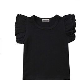 Mubineo Toddler Baby Girl Basic Plain Ruffle Sleeve Cotton T Shirts Tops Tee Clothes | Amazon (US)