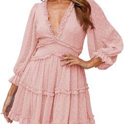 Dokotoo Womens Spring Summer Deep V Neck Ruffle Long Sleeve Floral Print Mini Dress | Amazon (US)