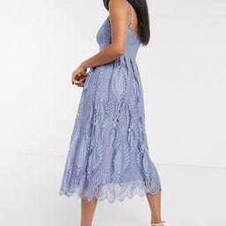 Vila midi cami dress in blue lace | ASOS (Global)