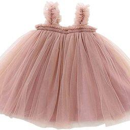 GSVIBK Baby Girls Tutu Dress Toddler Tulle Dresses Long Sleeve Cotton Tutu Dress Sleeveless Infan... | Amazon (US)