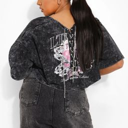 Plus Lace Up Ofcl Print Acid Wash T-shirt   Boohoo.com (US & CA)