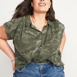 Oversized No-Peek Plus-Size Short-Sleeve Shirt   Old Navy (US)