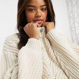 Topshop chunky cropped sweater in ivory   ASOS (Global)