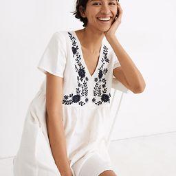 Embroidered Linen-Blend Alexandra Button-Front Mini Dress | Madewell