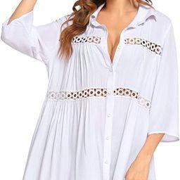Hotouch Women's Swimwear Cover Ups Crochet Bikini Beachwear Button Down Shirts Bathing Suit Cover...   Amazon (US)