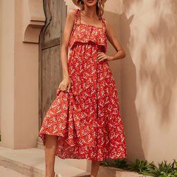 Ditsy Floral Tie Shoulder Low Back Dress | SHEIN