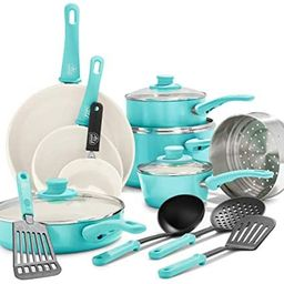 GreenLife Soft Grip Healthy Ceramic Nonstick, Cookware Pots and Pans Set, 16 Piece, Turquoise   Amazon (US)