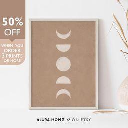 Moon Phases Print, Boho Wall Decor, Neutral Tone Print, Boho Wall Art, Moon Phases Abstract Print...   Etsy (US)