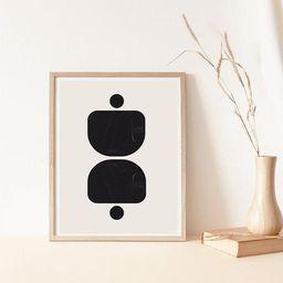 Geometric Shapes, black Wall Decor, neutral Print, Organic Shapes Art, Bohemian Style, modern pri...   Etsy (US)