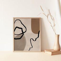 Minimal Abstract Shapes Wall Art,Mid Century Modern Line Art Print,Neutral Boho Wall Decor,Modern... | Etsy (US)
