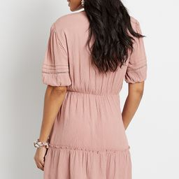 Pink Button Front Puff Sleeve Mini Dress | Maurices