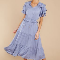 Frilled With You Slate Blue Midi Dress | Red Dress