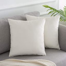 WLNUI Set of 2 Soft Velvet Ivory White Pillow Covers 20x20 Inch Square Decorative Throw Pillow Co... | Amazon (US)