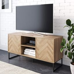 Nathan James Dylan Media Console Cabinet or TV Stand with Doors for Hidden Storage in a Natural R... | Amazon (US)