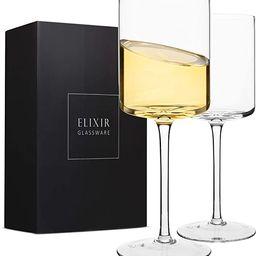 Edge Wine Glasses, Modern & Elegant Square Glass Set of 2, Large Red Wine or White Wine Glass - U... | Amazon (US)