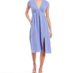 V-Neck Midi Dress | Dillards
