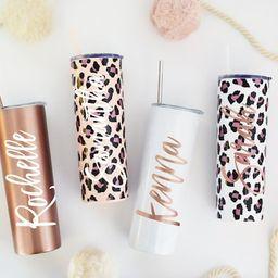 Tumbler With Lid and Straw Rose Gold & Gold, Stainless Steel, Skinny Tumbler, Personalized Gift f...   Etsy (US)