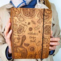Personalized Wooden Recipe Book Binder Custom Journal Cookbook Notebook Valentine's Day Bridal Sh...   Etsy (US)