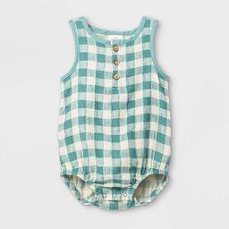 Baby Gauze Gingham Bubble Printed Romper - Cat & Jack™ Green | Target