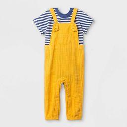 Baby Boys' Gauze Bubble Overalls Top & Bottom Set - Cat & Jack™ Mustard   Target
