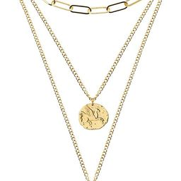 FAMARINE Gold Layered Pendant Long Necklace, 3 Layer Choker Necklace Chain Pendant Costume Jewelr...   Amazon (US)